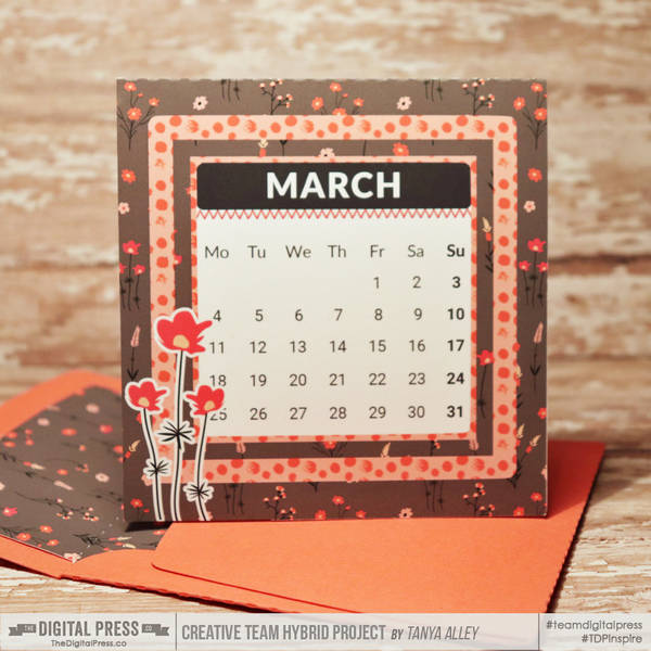 March desk calendar card