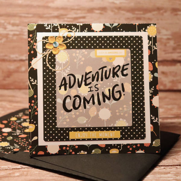 Adventure card with matching envie