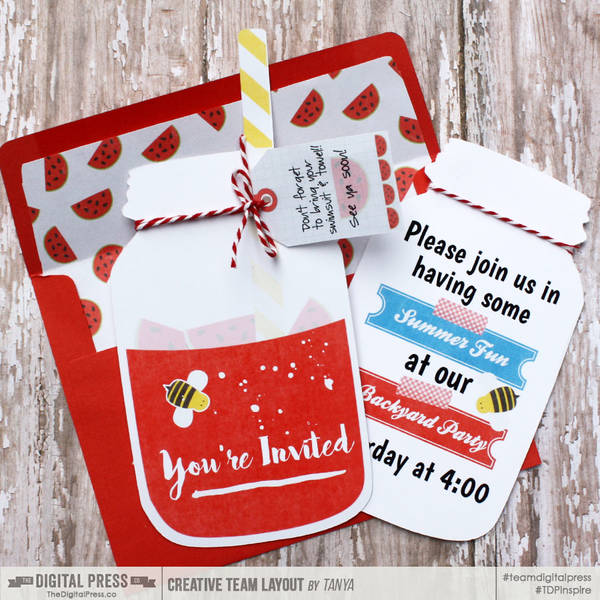Backyard Party invite with matching envelope