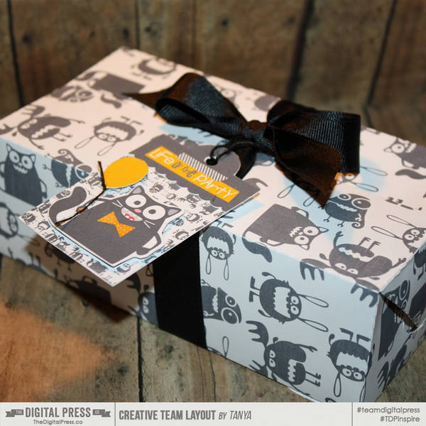 Party Animals gift box with matching tag