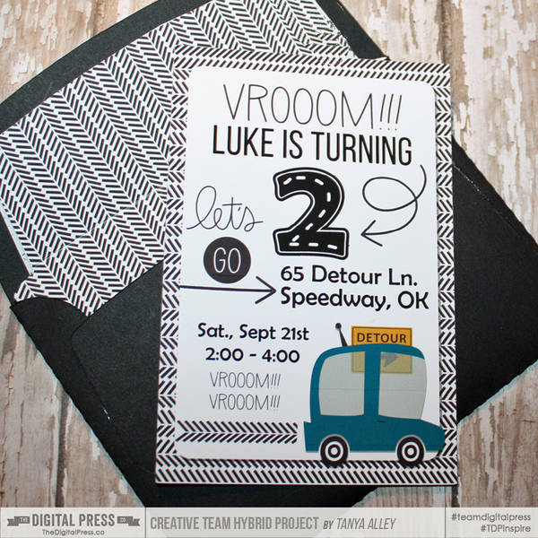 Luke is two party invite with matching envelope