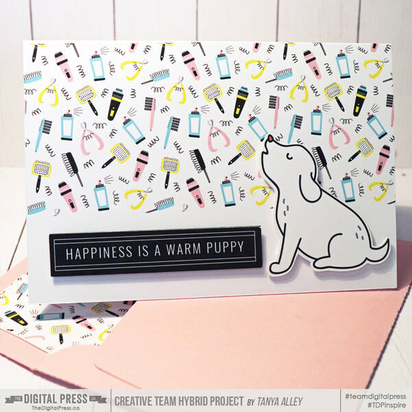 Happiness is a warm puppy card with matching envie