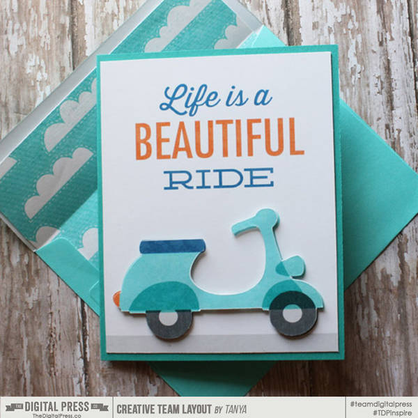 Life is a Beautif Ride card and matching envelope